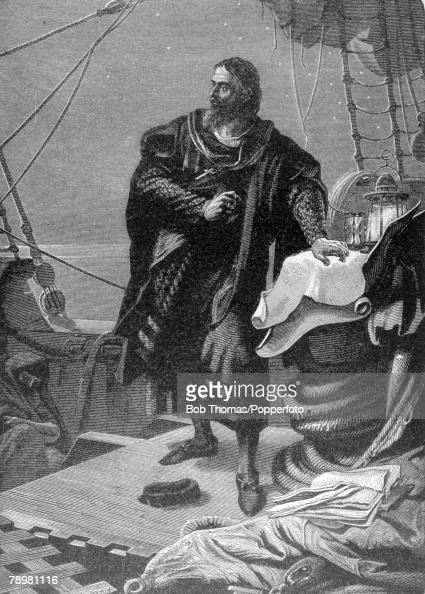 circa 1592 This illustration is of Christopher Columbus born in Italy but who sailed from Spain across the Atlantic Ocean to find the Caribbean...