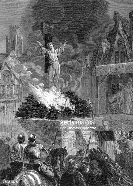 circa 1350 This illustration is entitled The Burning Of Joan Of Arc Joan Of Arc French patriot and martyr who was burnt at the stake in Rouen by the...