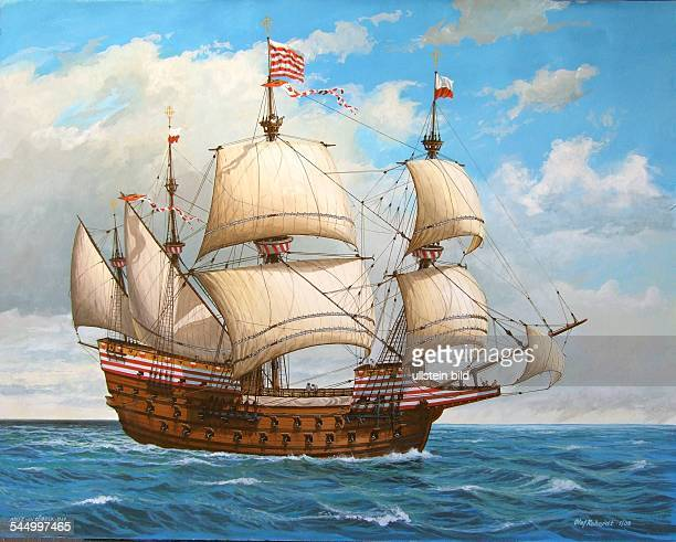 History Navigation / Hanseatic LeagueGalleon 'Adler von Luebeck' of the city of Luebeck Painting of Olaf Rahardt 2005