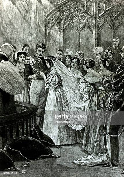 History Personalities British Royalty pic 10th February 1840 Queen Victoria with her husband Prince Albert as they are married at StJames' Palace...
