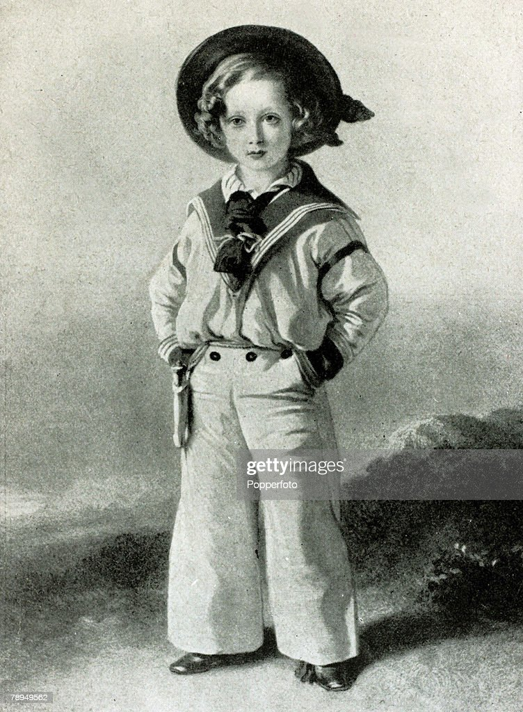 History Personalities, British Royalty, pic: 1848, This illustration shows Edward, Prince of Wales, dressed in a sailor suit at the age of seven, The Prince of Wales, (1841-1910) the son of Queen Victoria and Prince Albert later became King <a gi-track='captionPersonalityLinkClicked' href=/galleries/search?phrase=Edward+VII&family=editorial&specificpeople=107207 ng-click='$event.stopPropagation()'>Edward VII</a> and reigned 1901-1910