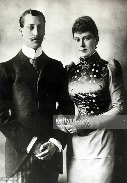 History Personalities British Royalty pic circa 1891 HRHThe Duke of Clarence pictured with Princess Mary of Teck on their engagement The Duke died of...