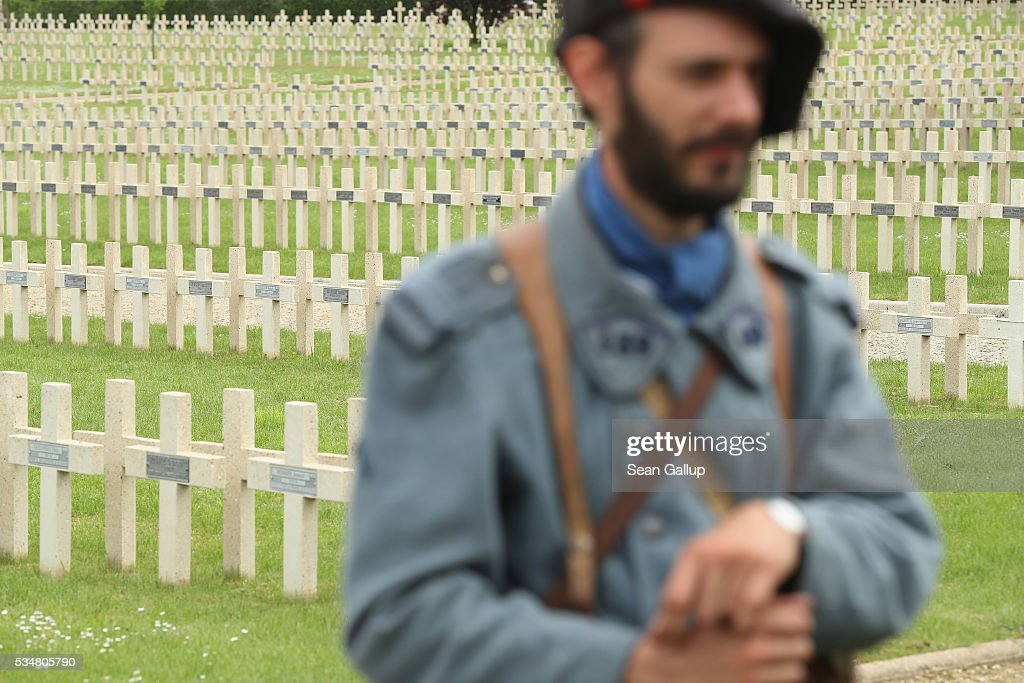A history reenactor dressed as a World War I French soldier arrives for a commemoration ceremony at the World War I French cemetery, where nearly 5,000 fallen soldiers lie, on May 28, 2016 in Verdun, France. The governments of France and Germany will commemorate the 100th anniversary of the World War I Battle of Verdun with ceremonies tomorrow. Approximately 300,000 soldiers lost their lives in the 10-month campaign that was among the most grueling battles of World War I.