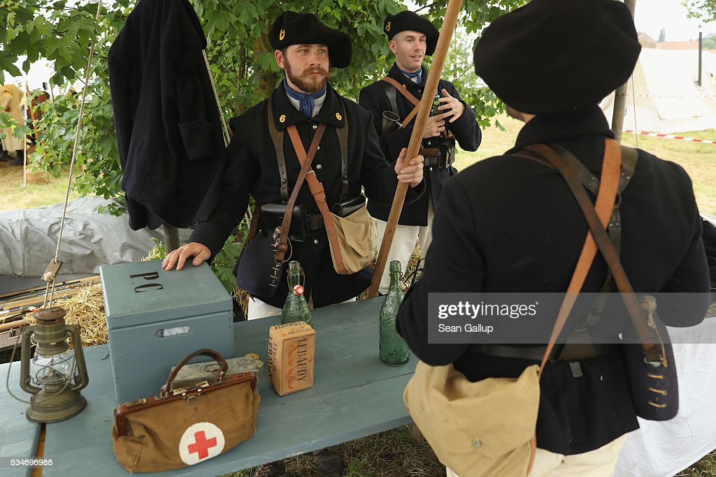 History reenactors dressed as members of a World War I French military alpine unit chat at their campsite prior to a parade on May 27, 2016 in Verdun, France. The governments of France and Germany will commemorate the 100th anniversary of the World War I Battle of Verdun with ceremonies this coming Sunday. Approximately 300,000 soldiers lost their lives in the 10-month campaign that was among the most grueling battles of World War I.