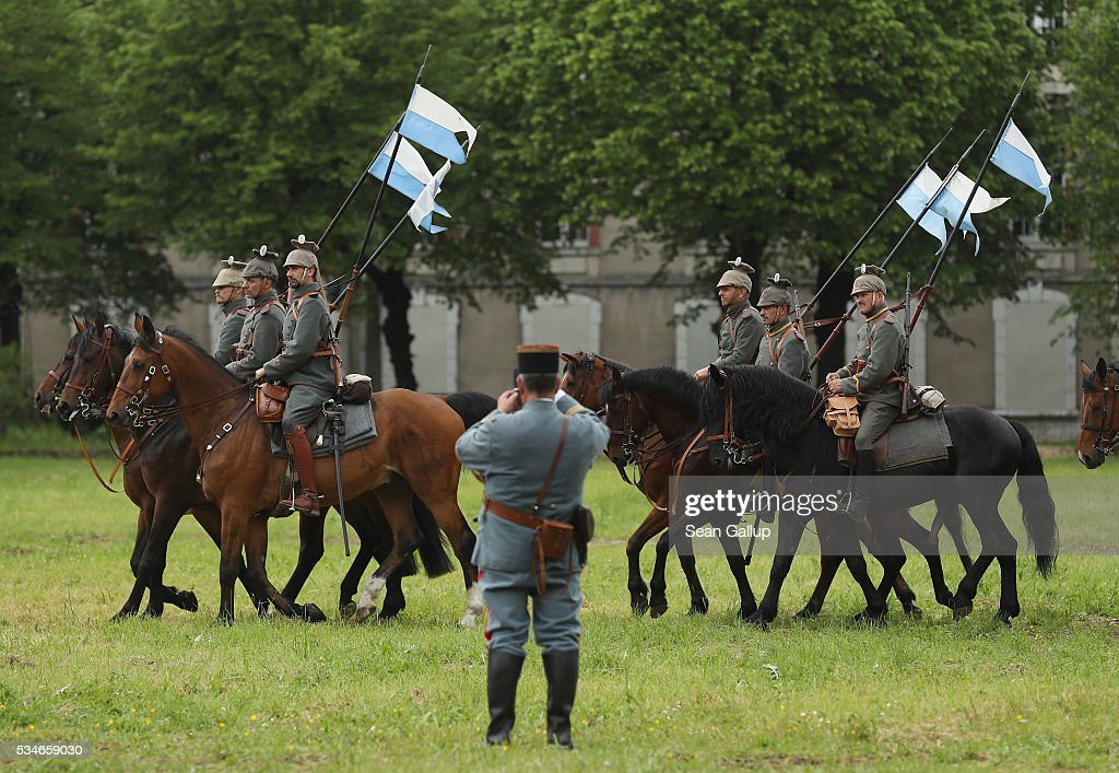 History reenactors dressed as members of a World War I German cavalry unit arrive on horseback at their campsite prior to a parade on May 27, 2016 in Verdun, France. The governments of France and Germany will commemorate the 100th anniversary of the World War I Battle of Verdun with ceremonies this coming Sunday. Approximately 300,000 soldiers lost their lives in the 10-month campaign that was among the most grueling battles of World War I.