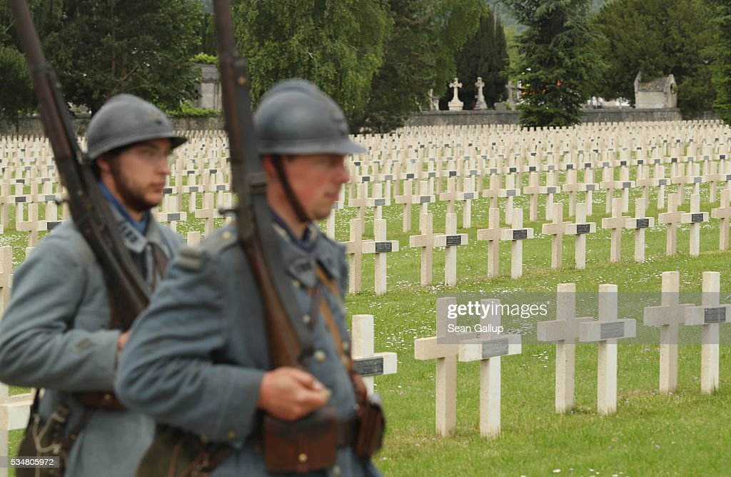 History reenactors dressed as World War I French soldiers depart after attending a commemoration ceremony at the World War I French cemetery, where nearly 5,000 fallen soldiers lie, on May 28, 2016 in Verdun, France. The governments of France and Germany will commemorate the 100th anniversary of the World War I Battle of Verdun with ceremonies tomorrow. Approximately 300,000 soldiers lost their lives in the 10-month campaign that was among the most grueling battles of World War I.