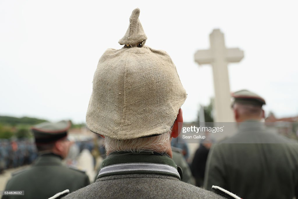 History reenactors dressed as World War I German soldiers attend a commemoration ceremony at the World War I French cemetery, where nearly 5,000 fallen soldiers lie, on May 28, 2016 in Verdun, France. The governments of France and Germany will commemorate the 100th anniversary of the World War I Battle of Verdun with ceremonies tomorrow. Approximately 300,000 soldiers lost their lives in the 10-month campaign that was among the most grueling battles of World War I.