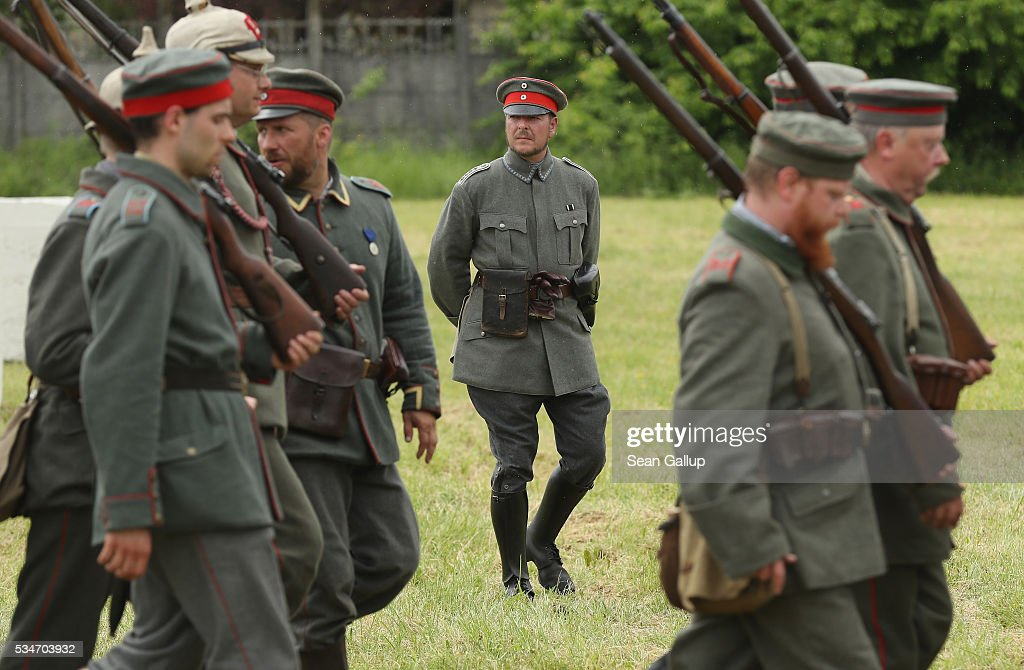 History reenactors dressed as World War I German soldiers prepare for a parade at their campsite on May 27, 2016 in Verdun, France. The governments of France and Germany will commemorate the 100th anniversary of the World War I Battle of Verdun with ceremonies this coming Sunday. Approximately 300,000 soldiers lost their lives in the 10-month campaign that was among the most grueling battles of World War I.