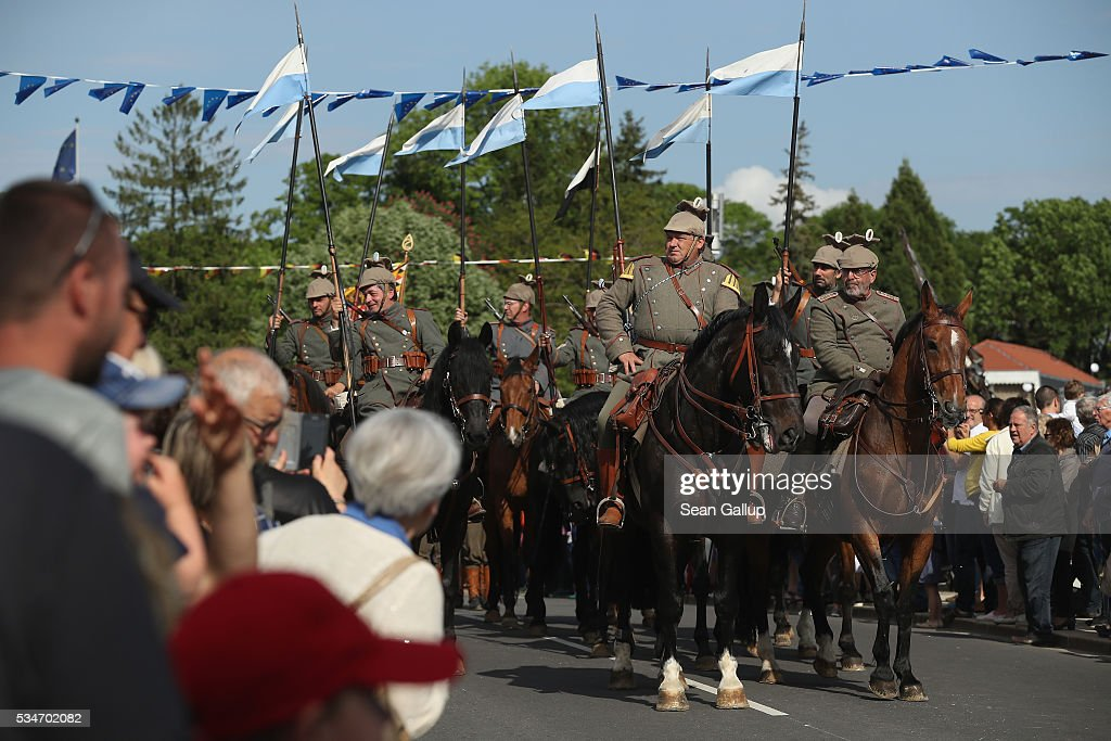 History reenactors wearing World War I German military uniforms and on horseback take part in a parade on May 27, 2016 in Verdun, France. The governments of France and Germany will commemorate the 100th anniversary of the World War I Battle of Verdun with ceremonies this coming Sunday. Approximately 300,000 soldiers lost their lives in the 10-month campaign that was among the most grueling battles of World War I.