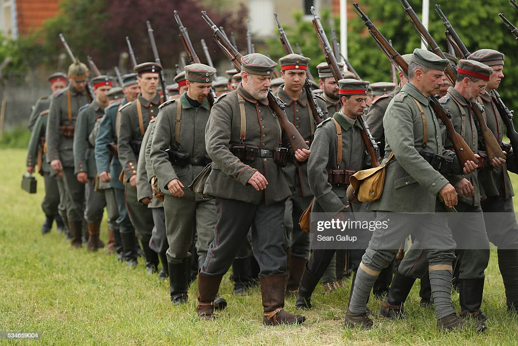 History reenactors wearing World War I German military uniforms march at their campsite prior to a parade on May 27, 2016 in Verdun, France. The governments of France and Germany will commemorate the 100th anniversary of the World War I Battle of Verdun with ceremonies this coming Sunday. Approximately 300,000 soldiers lost their lives in the 10-month campaign that was among the most grueling battles of World War I.