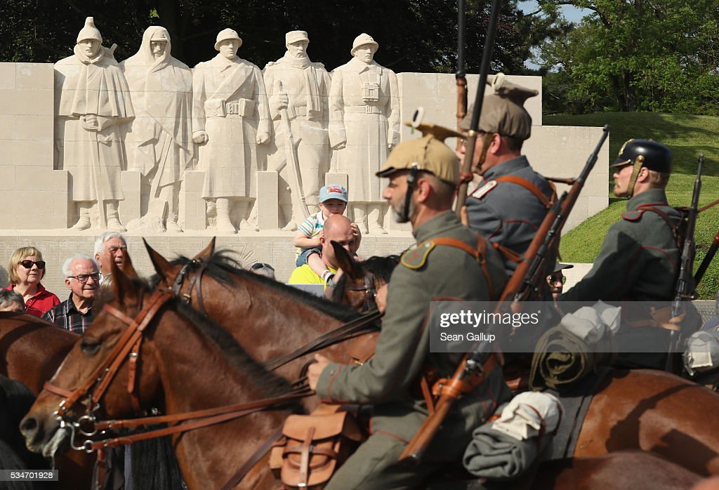 History reenactors wearing World War I German military uniforms parade past on horseback at a memorial to French soldiers killed in the World War I battle of Verdun on May 27, 2016 in Verdun, France. The governments of France and Germany will commemorate the 100th anniversary of the World War I Battle of Verdun with ceremonies this coming Sunday. Approximately 300,000 soldiers lost their lives in the 10-month campaign that was among the most grueling battles of World War I.