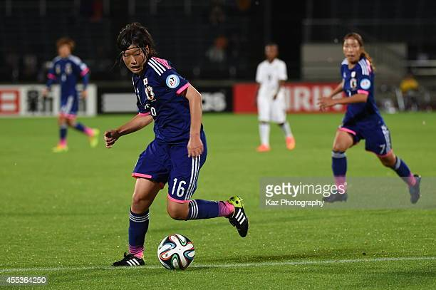 Hisui Haza of Japan during the women's international friendly match between Japan and Ghana at ND Soft Stadium on September 13 2014 in Yamagata Japan