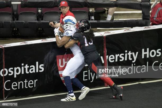 A hit by Cleveland Gladiators DB CJ Chatman and the wall jar the ball loose from Baltimore Brigade WR Paul Browning in the end zone for an incomplete...