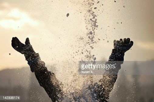 Hit by snow on face : Stock Photo