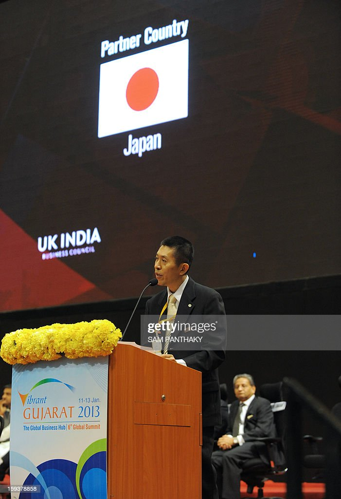Hitachi India's Managing Director Motoo Morimoto addresses the audience during the Velidictory function of the Vibrant Gujarat 2013 6th Global Summit at Mahatma Mandir in Gandhinagar, some 30 kms from Ahmedabad on January 12, 2013. The summit was inaugurated by Gujarat Chief Minister, Narendra Modi yesterday and the two day summit is attended by a wide range of national and international corporate representatives. AFP PHOTO / Sam PANTHAKY