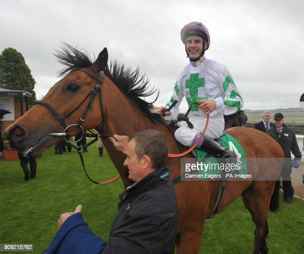 Hitchens with jockey Fran Berry enters the winners enclosure after winning the Weatherbys Ireland Greenlands Stakes during the Abu Dhabi 2000 Guineas...