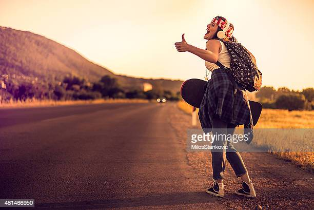 Hitchhiking hipster