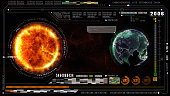 Hi-Tech digital data and information background. Global warming concept. Earth element furnished by Nasa