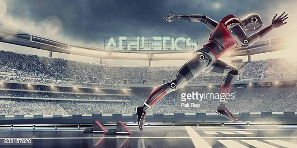 Hi-Tech Robot Athlete Competing in Sprint Race in Futuristic Stadium