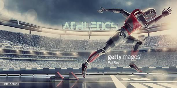 Hi-Tech Robot Athlete Competing in Sprint Race in Futuristic Stadium