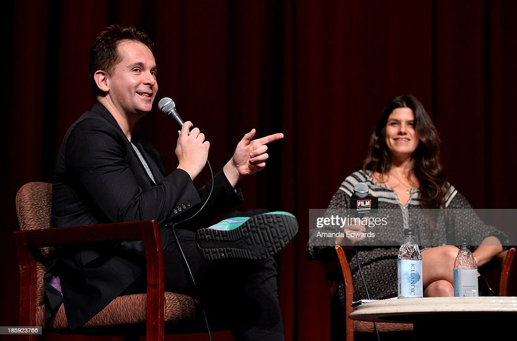 HitFix.com Co-Founder and Editor-In-Chief Gregory Ellwood (L) and producer Robbie Brenner attend the Film Independent Forum Screening and Q&A of 'Dallas Buyers Club' at the DGA Theater on October 25, 2013 in Los Angeles, California.