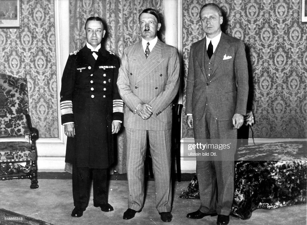 Hitler Adolf Politician NSDAP Germany *20041889 After signing the AngloGerman Naval Agreement Hitler receives ambassador Joachim von Ribbentrop at...