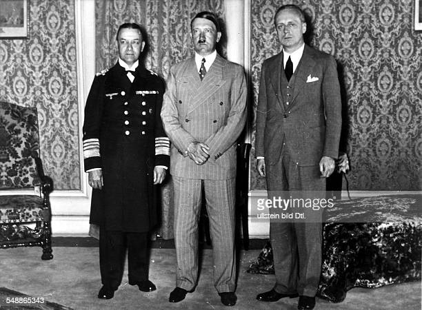 Hitler Adolf Politician NSDAP Germany *20041889 After signing the AngloGerman Naval Agreement Hitler receives ambassador Joachim von Ribbentrop at...