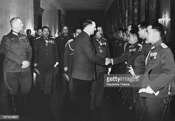 Hitler And Officers Of The Wehrmacht Welcoming Japanese Delegation At Berlin In Germany On January 31St 1941