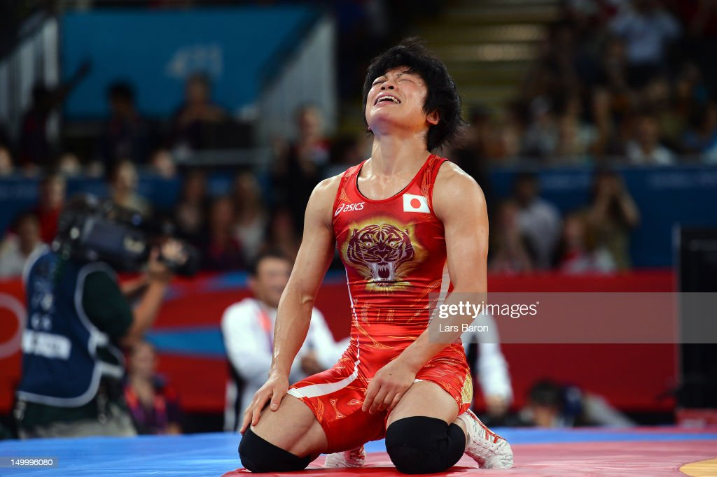 Hitomi Obara of Japan celebrates winning gold in the Women's Freestyle 48 kg Wrestling on Day 12 of the London 2012 Olympic Games at ExCeL on August 8, 2012 in London, England.