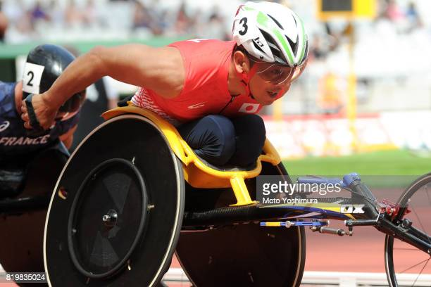 Hitoshi Matsunaga of Japan competes in the Men's 400m T53 round 1 during Day Five of the IPC World ParaAthletics Championships 2017 London at London...