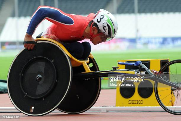 Hitoshi Matsunaga of Japan competes in the Men's 4×400m Relay T53/54 exhibition race during day six of the IPC World ParaAthletics Championships 2017...
