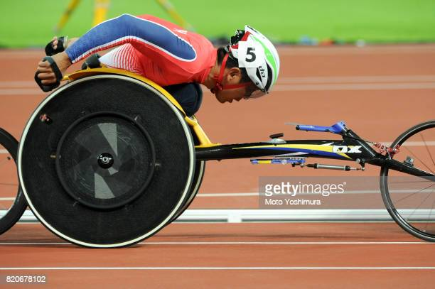 Hitoshi Matsunaga of Japan competes in the Men's 800m T53 round 1 during day six of the IPC World ParaAthletics Championships 2017 at London Stadium...