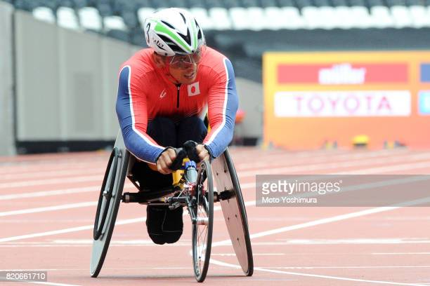 Hitoshi Matsunaga of Japan reacts after competing in the Men's 4×400m Relay T53/54 exhibition race during day six of the IPC World ParaAthletics...