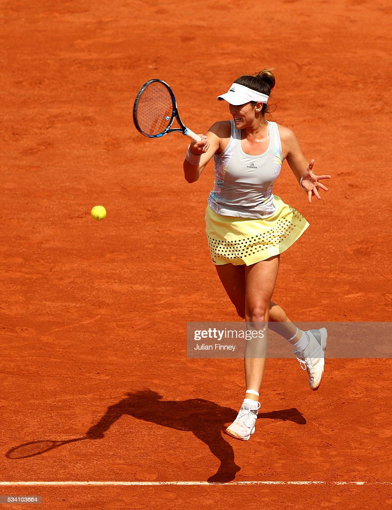 hits a forehand during the Ladies Singles second round match against Myrtille Georges of France at Roland Garros on May 25, 2016 in Paris, France.