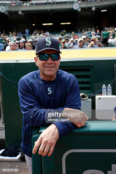 Hitting Coach Edgar Martinez of the Seattle Mariners stands in the dugout prior to the game against the Oakland Athletics at the Oakland Coliseum on...