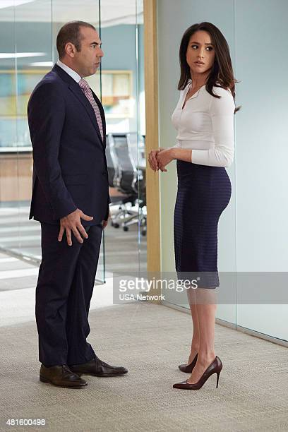 SUITS 'Hitting Home' Episode 507 Pictured Rick Hoffman as Louis Litt Meghan Markle as Rachel Zane