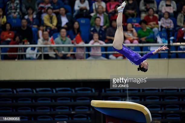 Hiu Ying Angel Wong of Hong Kong competes during the Women's Vault final gymnastics event of the 6th East Asian Games in Tianjin on October 13 2013...