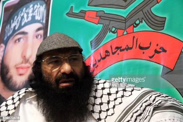 Hizbul Mujahideen chief Syed Salahuddin speaks during an exclusive interview in Islamabad Pakistan on July 11 2017