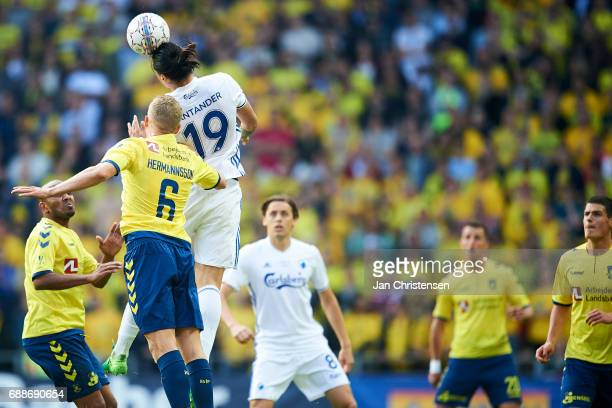 Hjötur Hermannsson of Brondby IF and Federico Santander of FC Copenhagen compete for the ball during the Danish Cup Final DBU Pokalen match between...