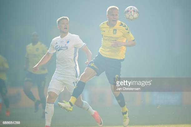 Hjötur Hermannsson of Brondby IF compete for the ball during the Danish Cup Final DBU Pokalen match between FC Copenhagen and Brondby IF at Telia...