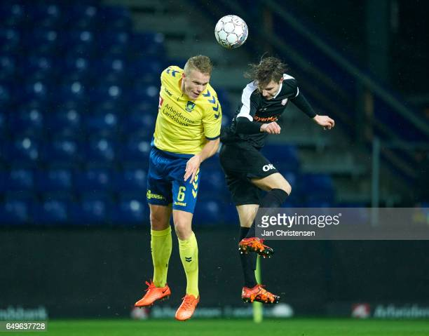 Hjötur Hermannsson of Brondby IF heading the ball during the Danish Cup DBU Pokalen match between BK Marienlyst and Brondby IF at Brondby Stadion on...
