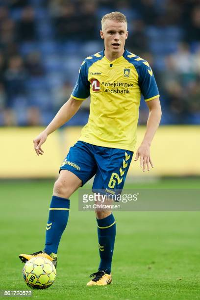 Hjötur Hermannsson of Brondby IF in action during the Danish Alka Superliga match between Brondby IF and Silkeborg IF at Brondby Stadion on October...