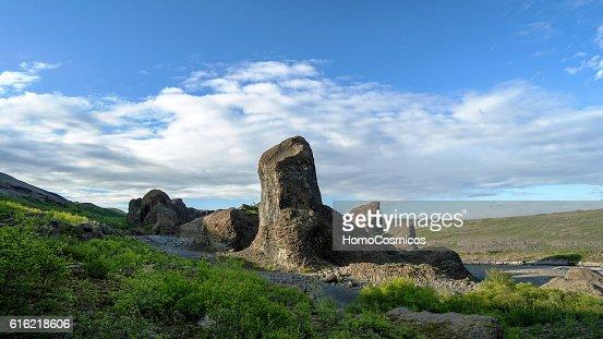 Hljodaklettar stone formations in Jokulsargljufur national park Iceland : Bildbanksbilder