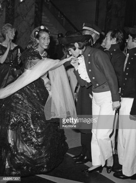 Hélène Rochas the wife of French fashion designer Marcel Rochas at the centenary ball which she organised at the Opera de MonteCarlo Monaco 1966