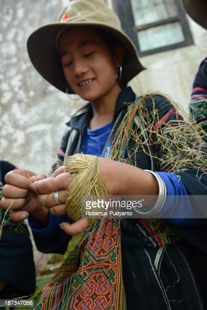 Hmong hilltribe woman spins yarn for traditional clothes at the Lao Chai village on November 8 2013 in Sa Pa Vietnam Sa Pa with its differents ethnic...