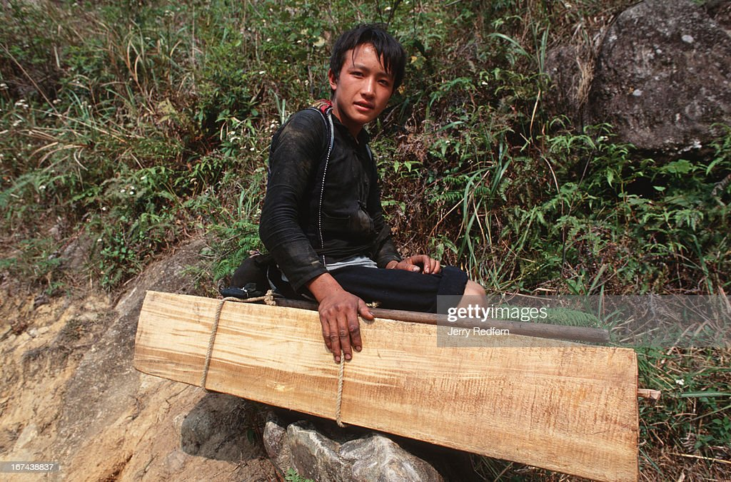 A Hmong teen sits atop a slab of sandalwood weighing about 40 kilograms near San Mi Ti in northern Vietnam. Hmong men cut the trees in the Hoang Lien Son Nature Reserve and haul the wood out of the forest to sell to Vietnamese middlemen or Chinese traders. Logging is illegal in the Hoang Lien Son Nature Reserve, but a slab of rare sandalwood can fetch $20-$100, as much as a Hmong family can make in a year of rice farming..