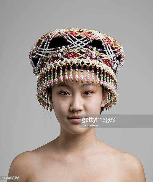 Hmong Teenage Girl in Traditional Headwear