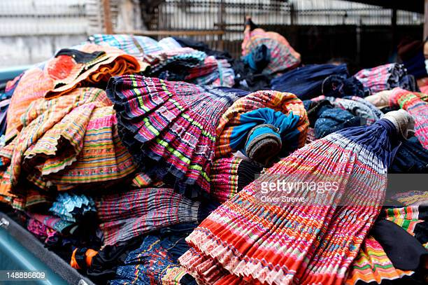 Hmong tribal clothing for sale at the Warorot market.