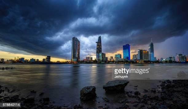 Ho Chi Minh City downtown skyline when the big rain coming