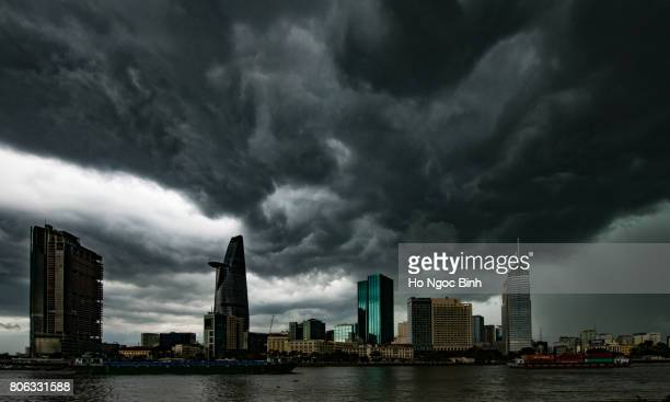 Ho Chi Minh City downtown skyline when the big rain coming